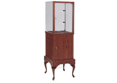 Half Vision Queen Anne Square Pedestal Display Case With A Glass On Glass Frame And Storage