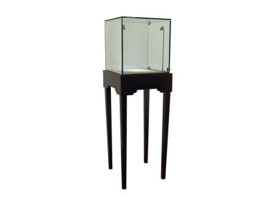 Half Vision Tapered Leg Square Pedestal Display Case With Glass On Glass Frame
