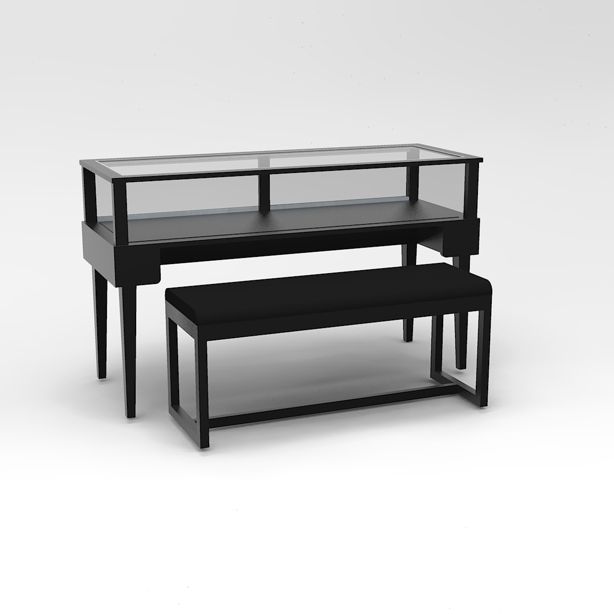 60 Inch Wide Tapered Leg Rectangle Sit-Down Display Case To Purchase
