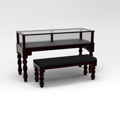 60 Inch Wide Turned Leg Rectangle Sit-Down Display Case To Purchase