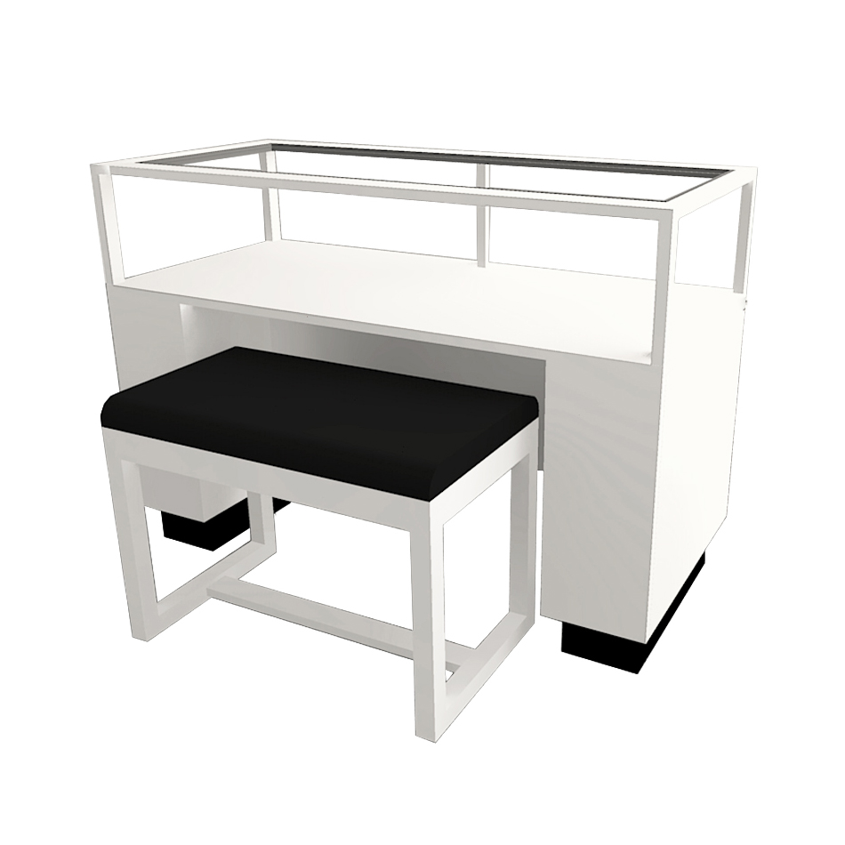 An example of a contemporary rectangle sit-down display case in white lacquer