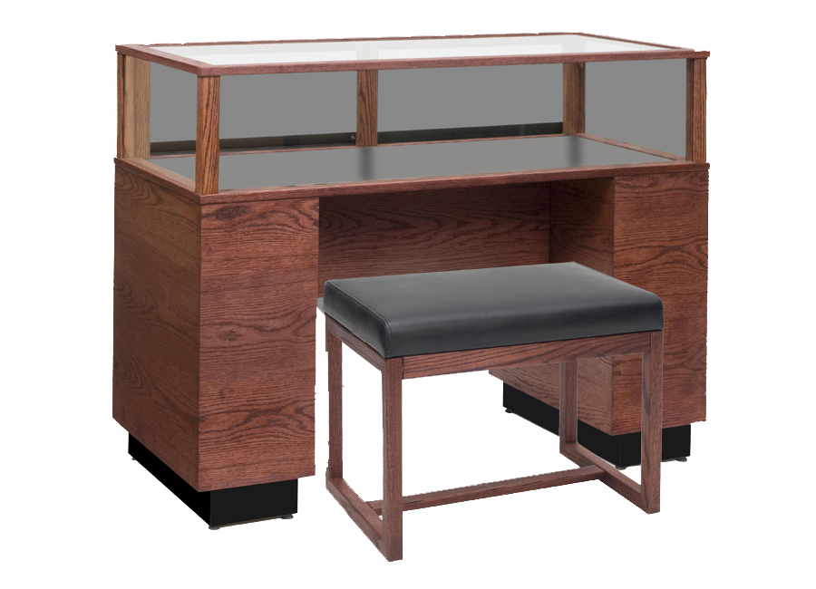 An example of a contemporary rectangle sit-down display case with cherry wood
