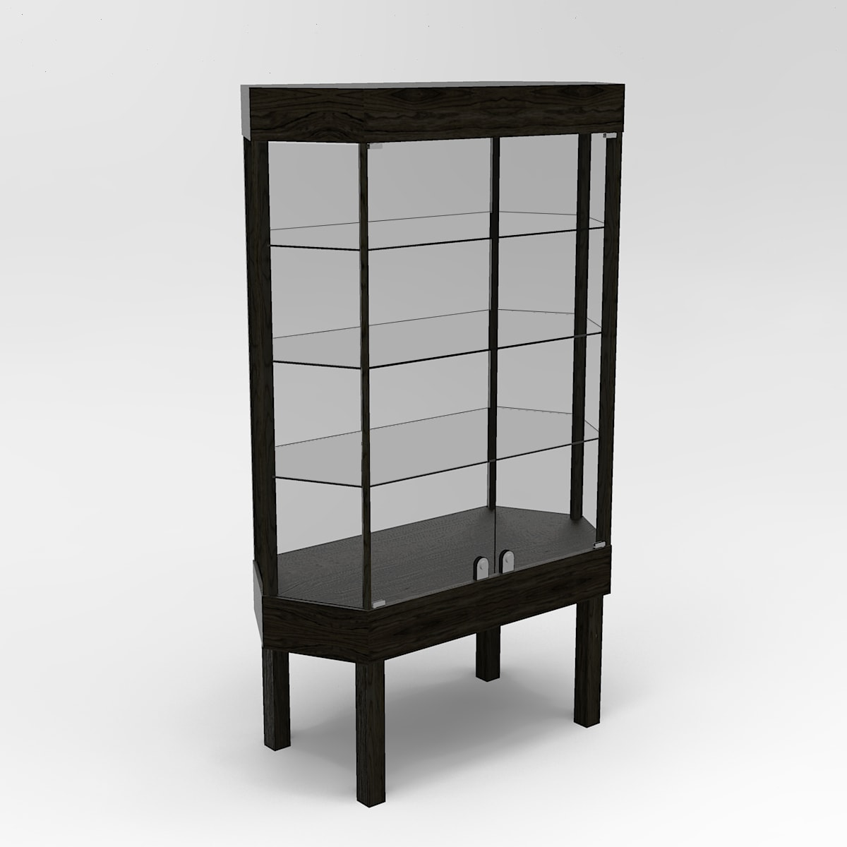 Extended Straight Leg Hexagon Horizontal Display Case To Purchase
