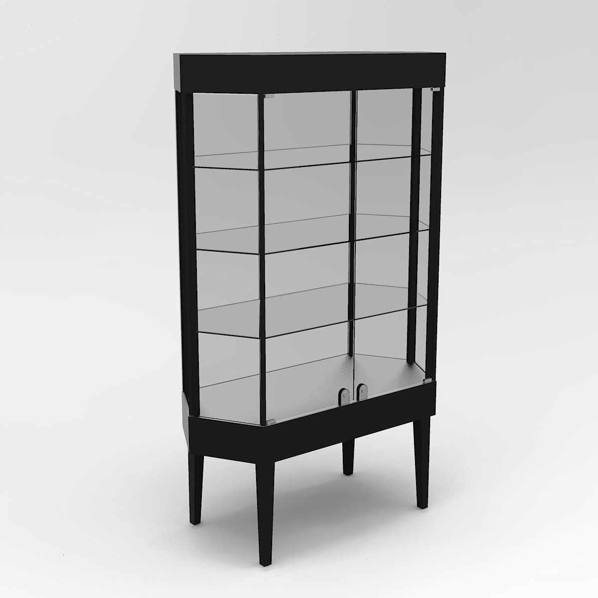 Extended Tapered Leg Octagon Horizontal Display Case To Purchase