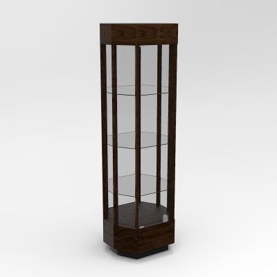 Narrow Contemporary Octagon Horizontal Display Case With Tower Floor Vision