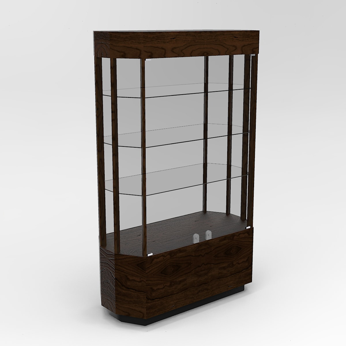 Extended Contemporary Octagon Horizontal Display Case With Tower Standard Vision