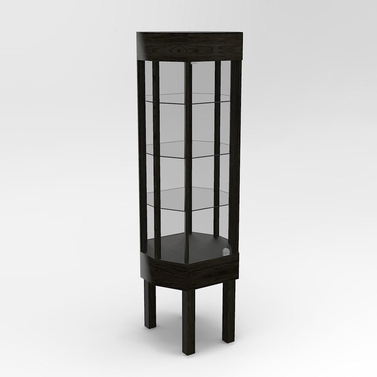 Narrow Straight Leg Octagon Horizontal Display Case To Purchase