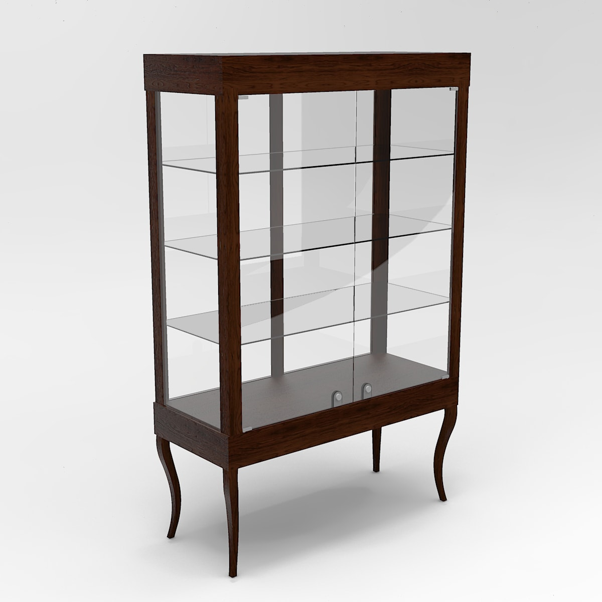 Extended Country French Leg Rectangle Tower Display Case To Purchase