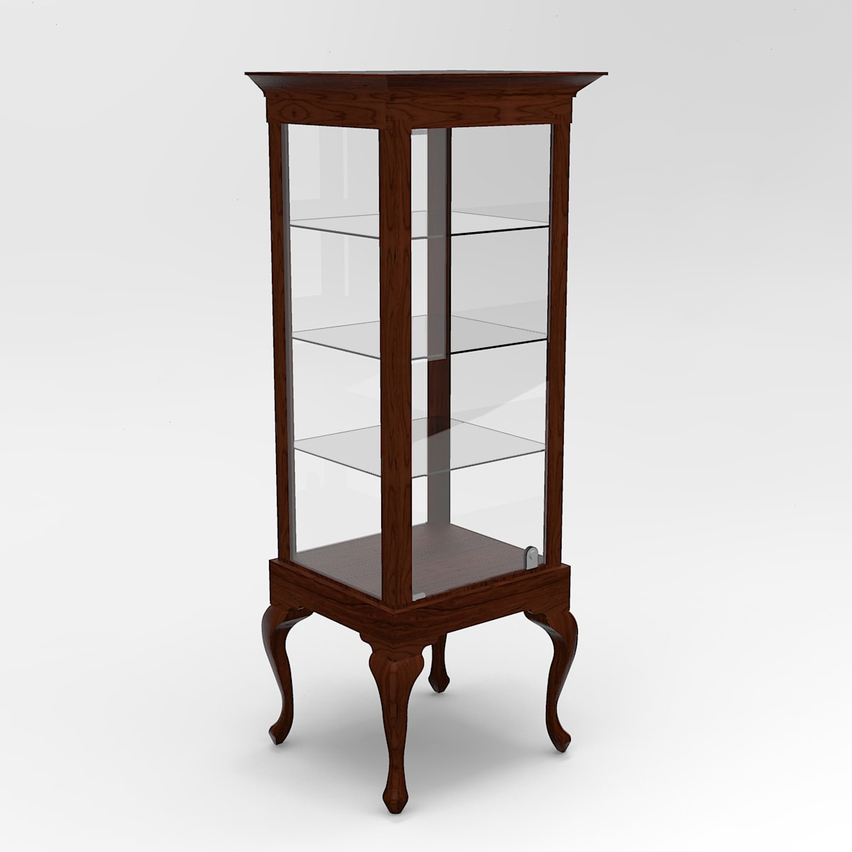 Narrow Queen Anne Leg Rectangle Tower Display Case To Purchase