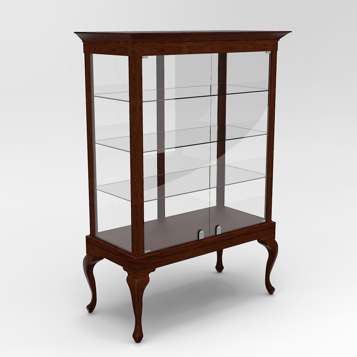 Extended Queen Anne Leg Rectangle Tower Display Case To Purchase