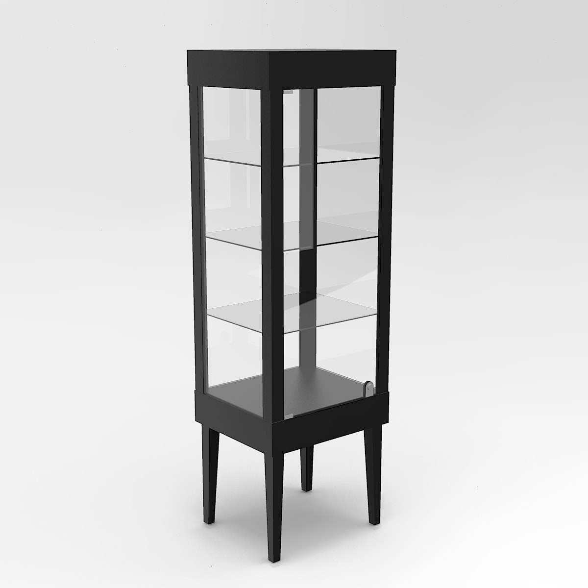 Narrow Tapered Leg Rectangle Tower Display Case To Purchase