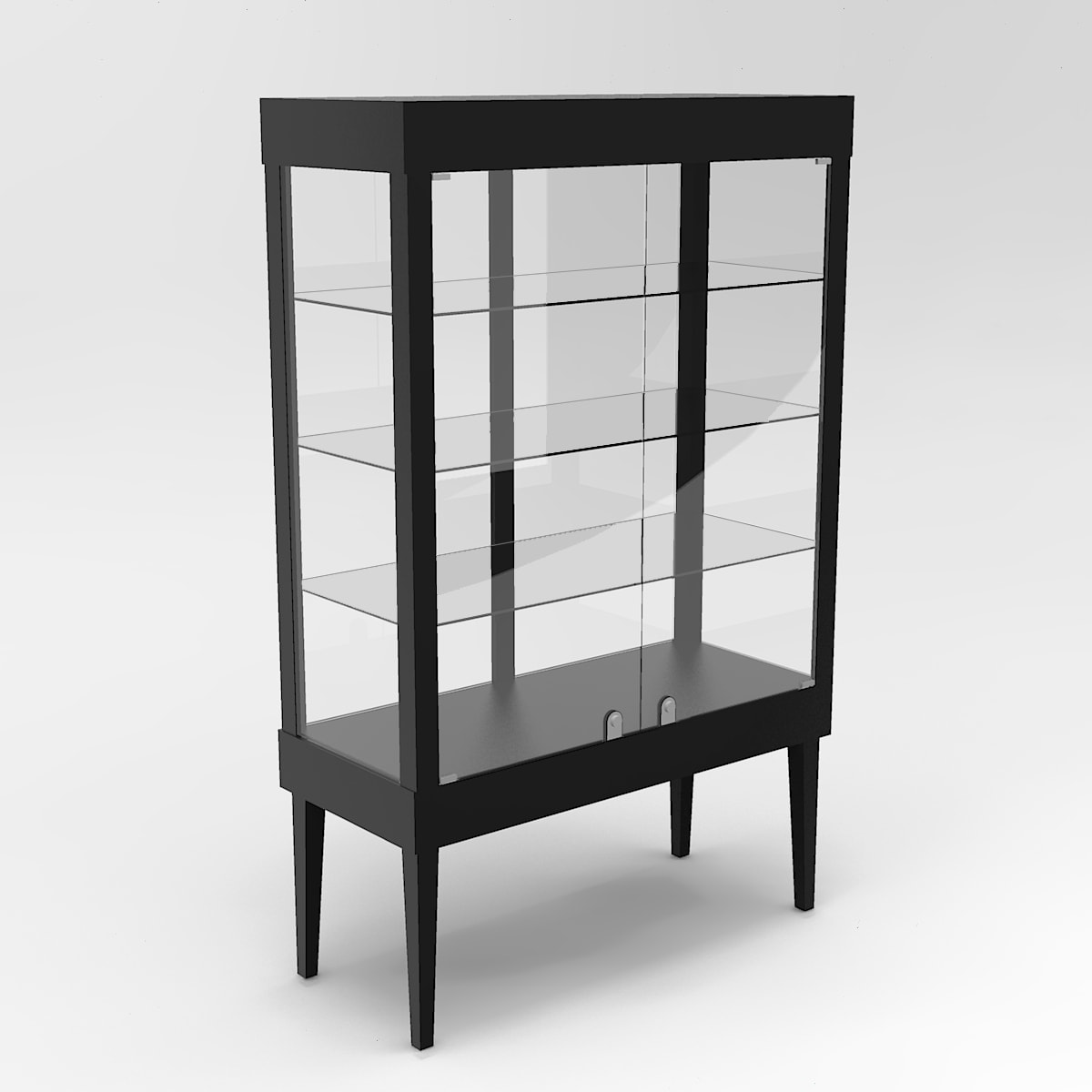 Extended Tapered Leg Rectangle Tower Display Case To Purchase