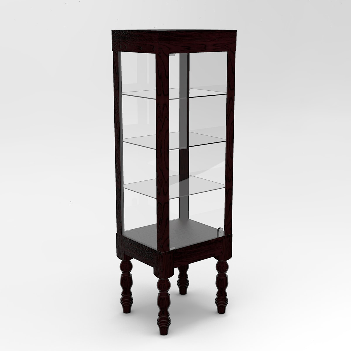 Narrow Turned Leg Rectangle Tower Display Case To Purchase