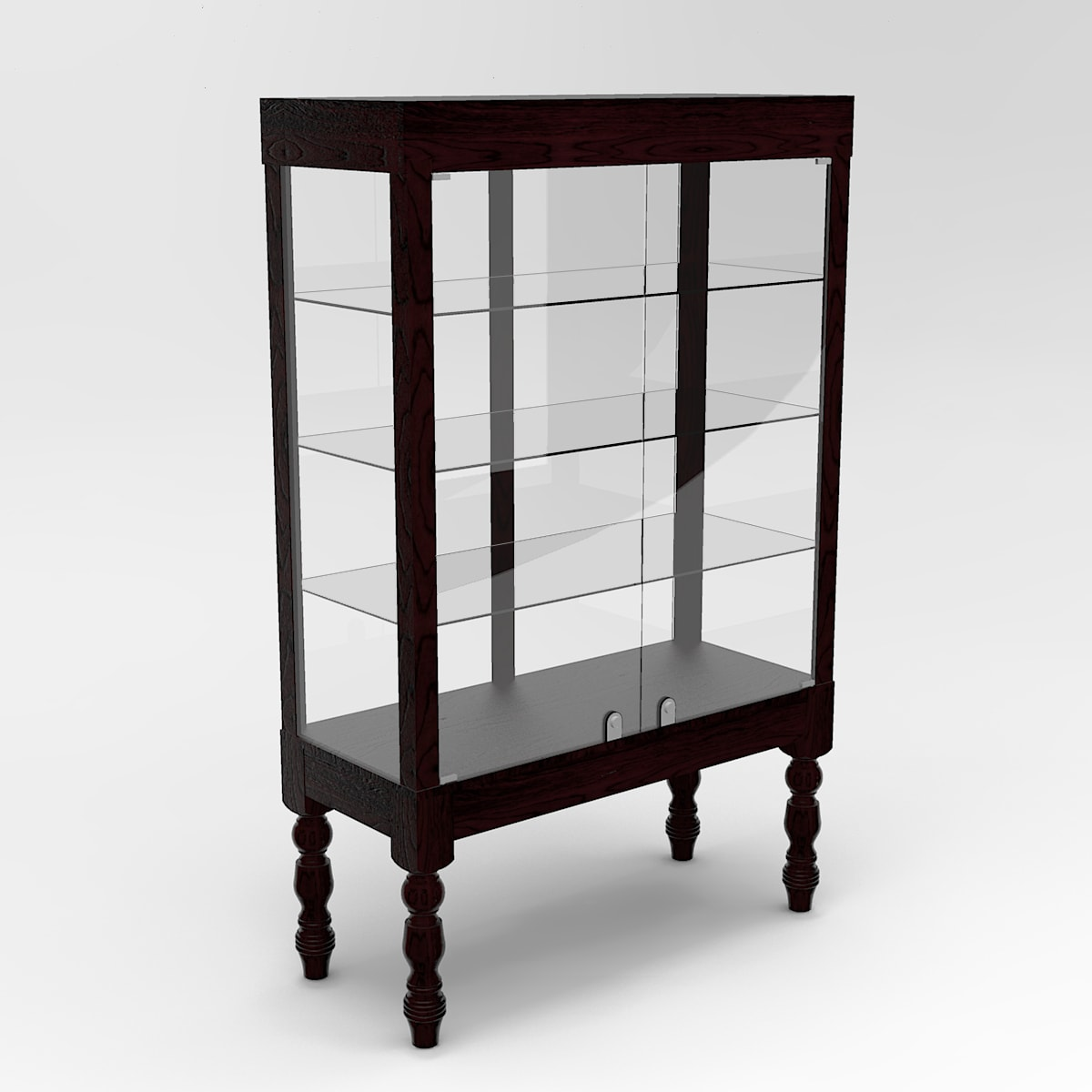 Extended Turned Leg Rectangle Tower Display Case To Purchase