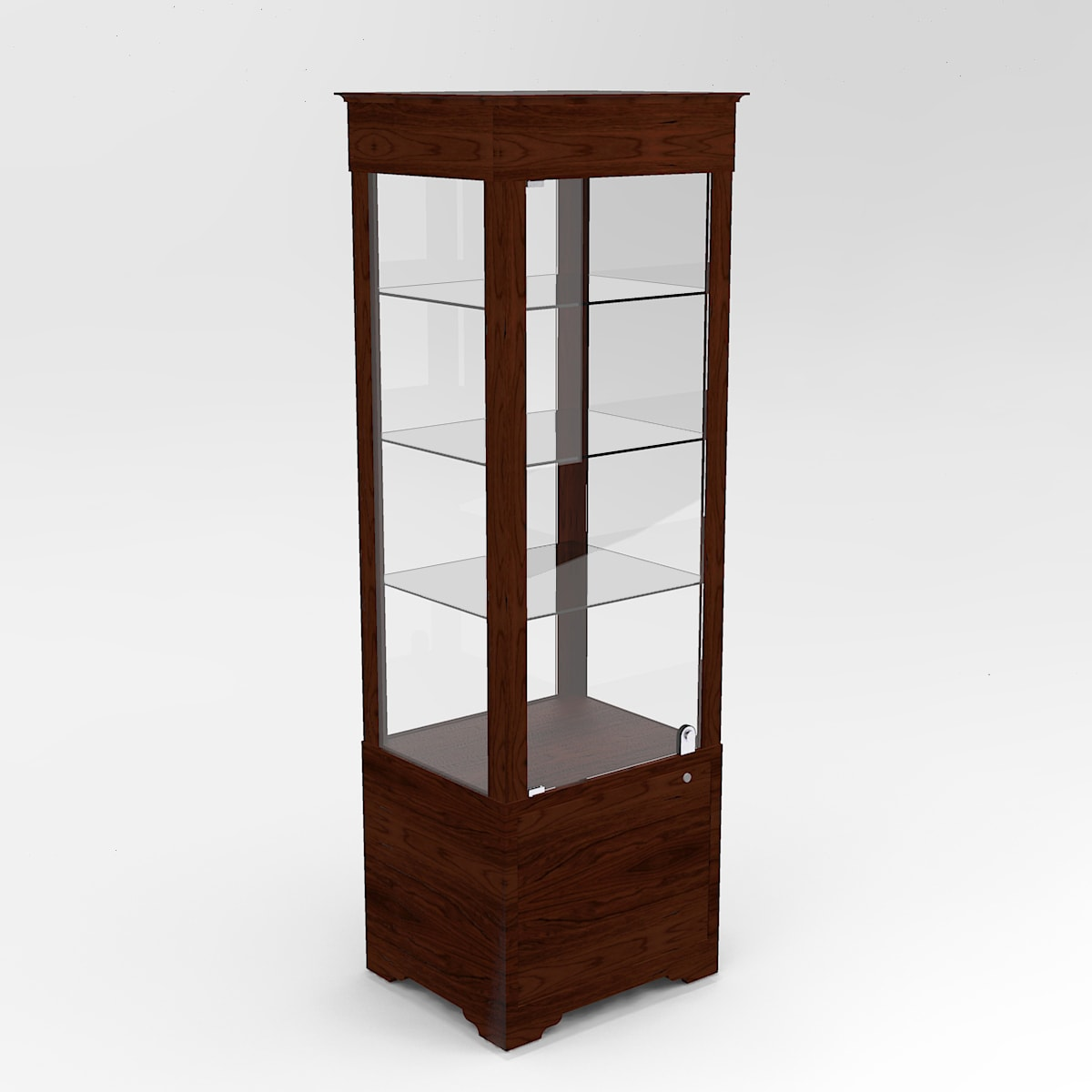 Narrow Transitional Rectangle Horizontal Display Case In Tower Standard Vision