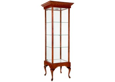 24 Inch Wide Queen Anne Rectangle Tower Display Case At 83 Inches High