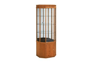 24 Inch Wide Classic Half Octagon Tower Display Case With Mirror Back, Tower Standard Vision And Storage