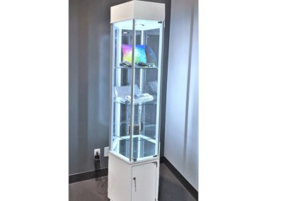 24 Inch Wide Contemporary Hexagon Tower Display Case With Storage