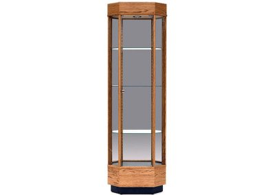 24 Inch Wide Contemporary Octagon Tower Display Case With Tower Full Vision and Hinged Glass Door Front