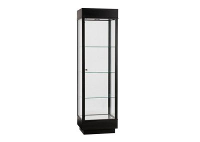 24 Inch Wide Contemporary Rectangle Tower Display Case With Tower Floor Vision