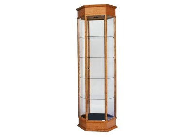 24 Inch Wide Classic Hexagon Tower Display Case With Tower Floor Vision