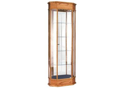 24 Inch Wide Classic Octagon Tower Display Case With Tower Floor Vision and Hinged Glass Door