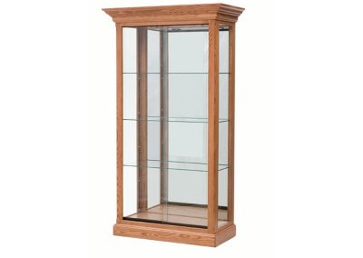 36 Inch Wide Classic Rectangle Tower Display Case With Tower Floor Vision And Mirror Back