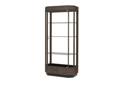 36 Inch Wide Contemporary Half Octagon Tower Display Case With Tower Floor Vision And Full Front Glass Hinged Door