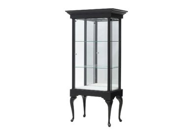 36 Inches Wide Queen Anne Rectangle Tower Display Case With Mirror Back
