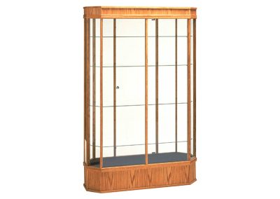48 Inch Wide Classic Octagon Tower Display Case With Tower Floor Vision And Single Glass Hinged Door