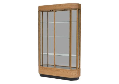 48 Inch Wide Contemporary Octagon Tower Display Case With Tower Floor Vision And Single Glass Hinged Door