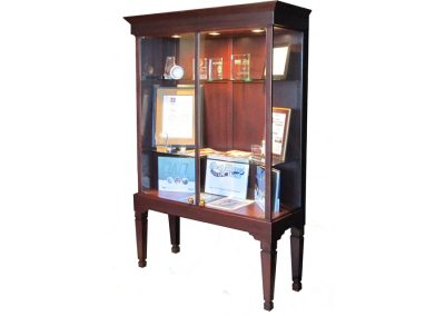 48 Inch Wide Executive Legs Rectangle Tower Display Case With Double Doors Of Hinged Glass