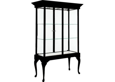48 Inch Wide Queen Anne Leg Rectangle Tower Display Case With A Glass Back