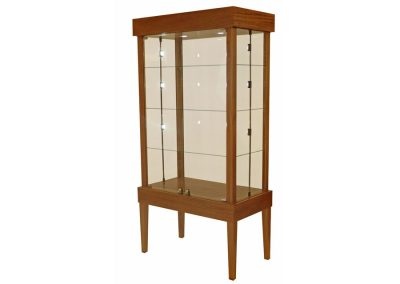 48 Inch Wide Tapered Leg Rectangle Tower Display Case With Double Doors Of Hinged Glass